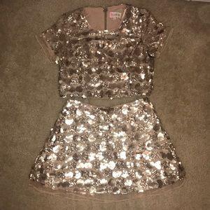 BRAND NEW! Sequin Golden Crop Top and Skirt Set